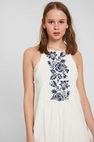 Bayan Krem Askılı Nakışlı Elbise