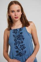 Bayan Mavi Askılı Nakışlı Elbise