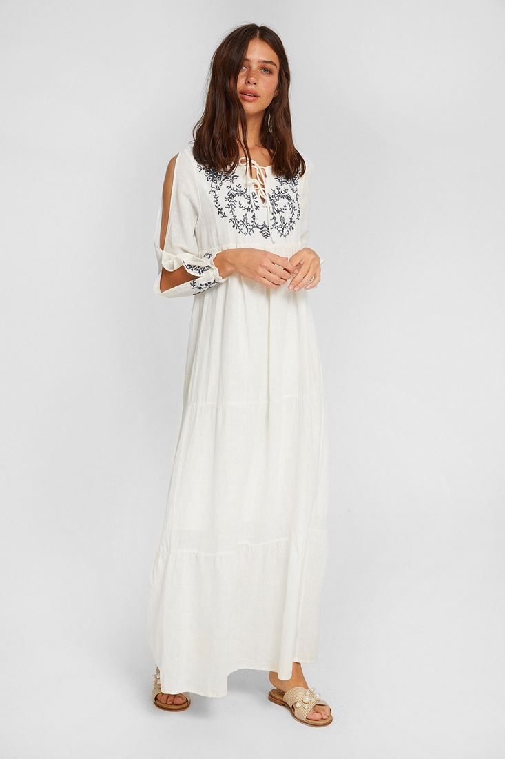 Bayan Krem Nakışlı Uzun Elbise