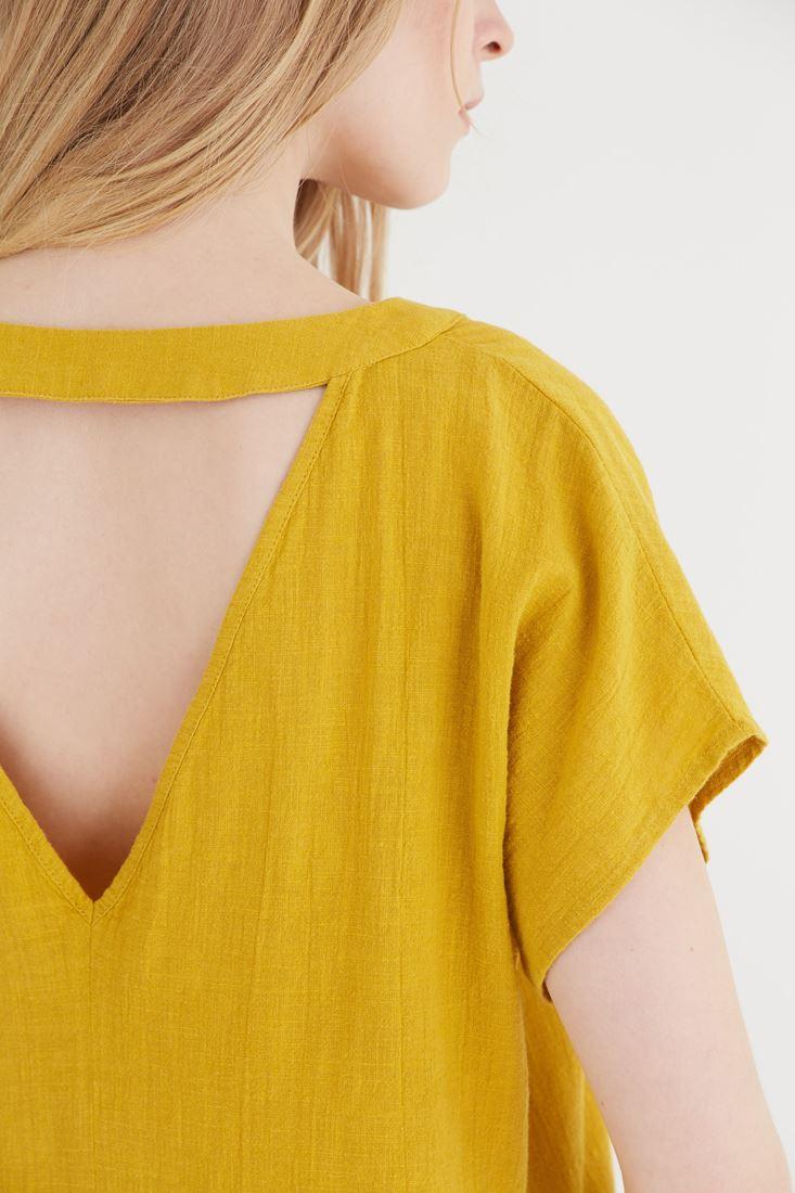 Bayan Sarı V Yaka Bluz