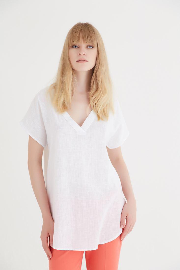 Bayan Beyaz V Yaka Bluz