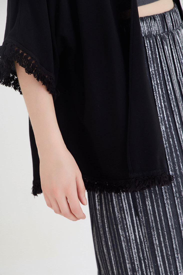 Bayan Siyah Püskül Detaylı Kimono