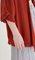 Bayan Turuncu Püskül Detaylı Kimono