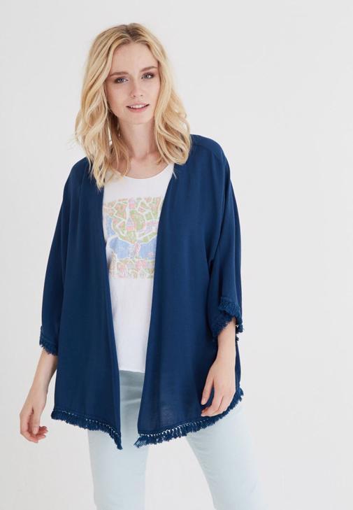 Mavi Püskül Detaylı Kimono