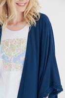Bayan Mavi Püskül Detaylı Kimono
