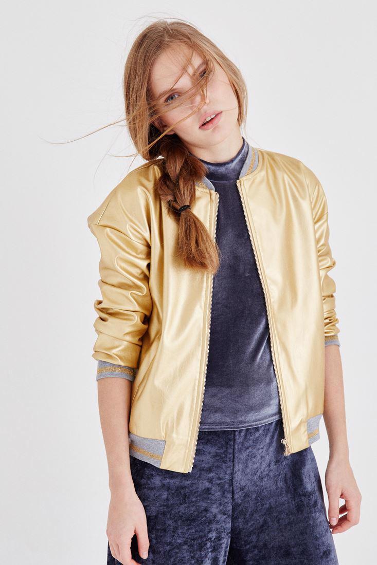 Bayan Altın Metalik Bomber Ceket