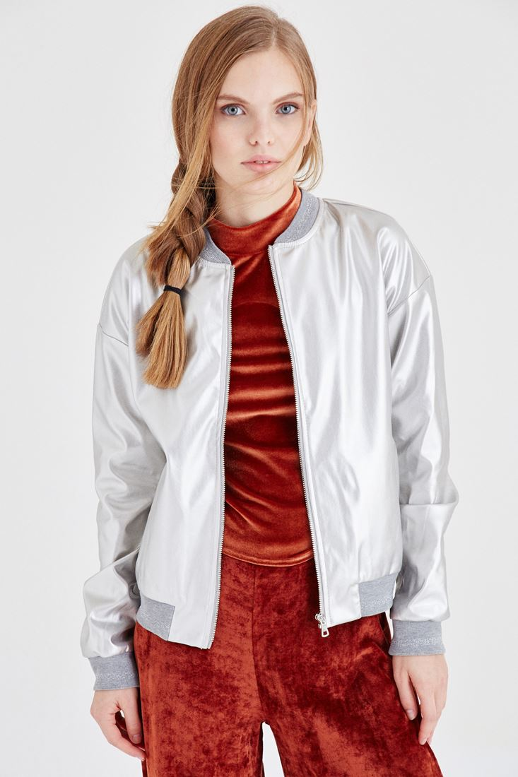 Bayan Gri Metalik Bomber Ceket