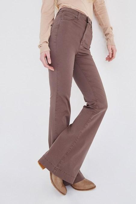 Kahverengi Yüksek Bel İspanyol Paça Pantolon