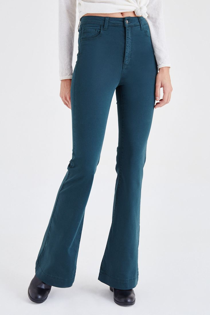 Green High Rise Flare Leg Pants