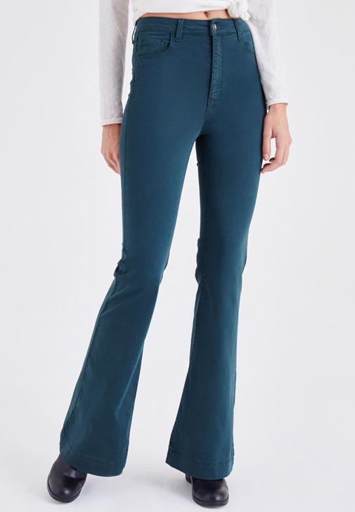 Yeşil Yüksek Bel İspanyol Paça Pantolon