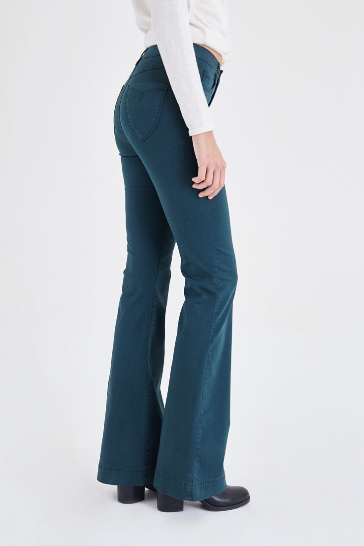 Bayan Yeşil Yüksek Bel İspanyol Paça Pantolon