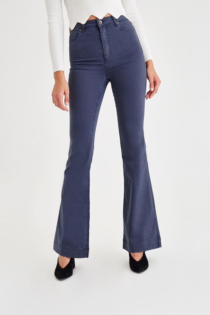 Grey High Rise Flare Leg Pants