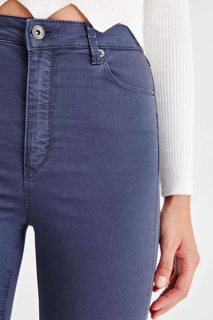 Bayan Gri Yüksek Bel İspanyol Paça Pantolon