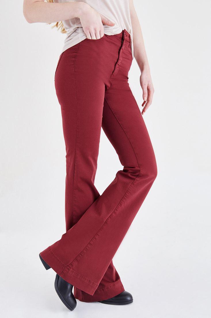 Bayan Bordo Yüksek Bel İspanyol Paça Pantolon