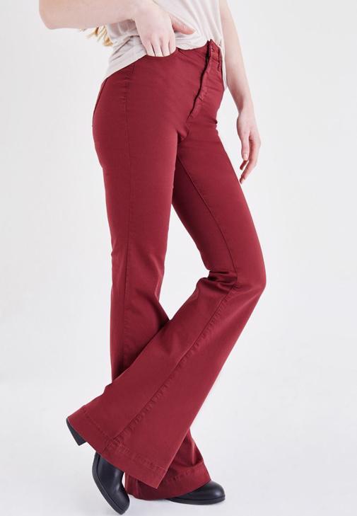 Bordo Yüksek Bel İspanyol Paça Pantolon