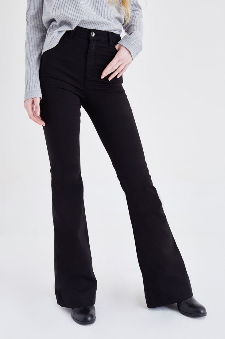 Bayan Siyah Yüksek Bel İspanyol Paça Pantolon
