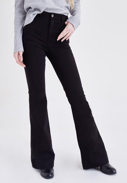 Siyah Yüksek Bel İspanyol Paça Pantolon