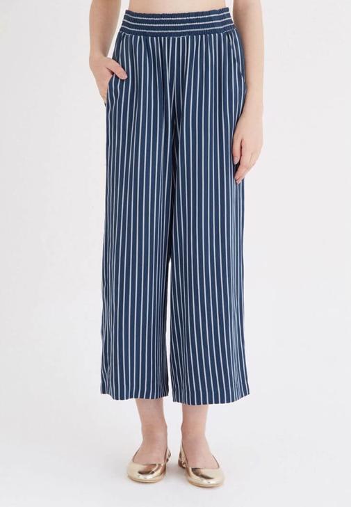Mavi Çizgili Bol Pantolon