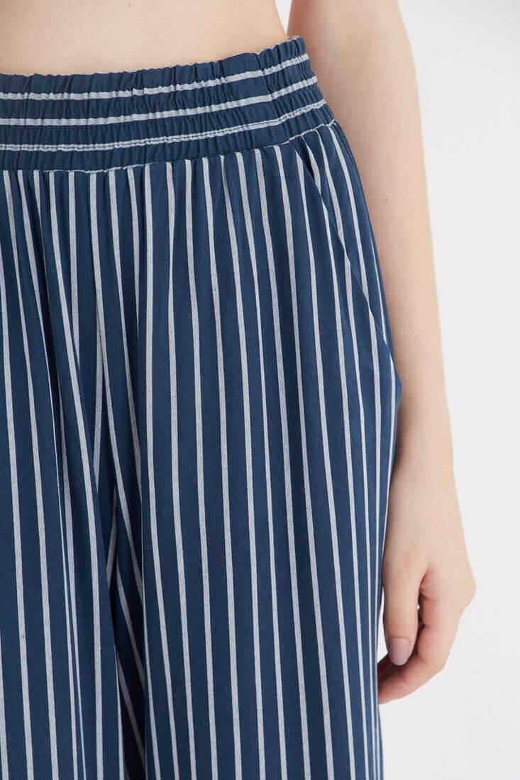 Bayan Mavi Çizgili Bol Pantolon