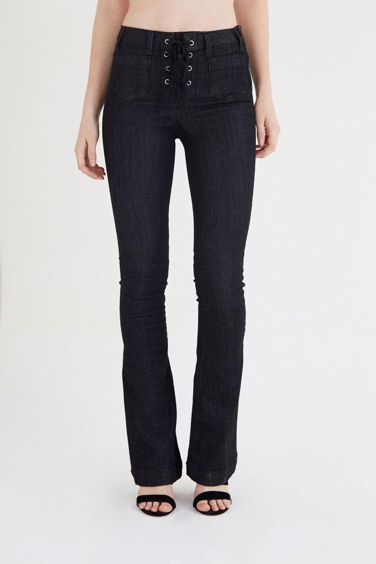 Bayan Siyah Bağcık Detaylı Yüksek Bel Kot Pantolon