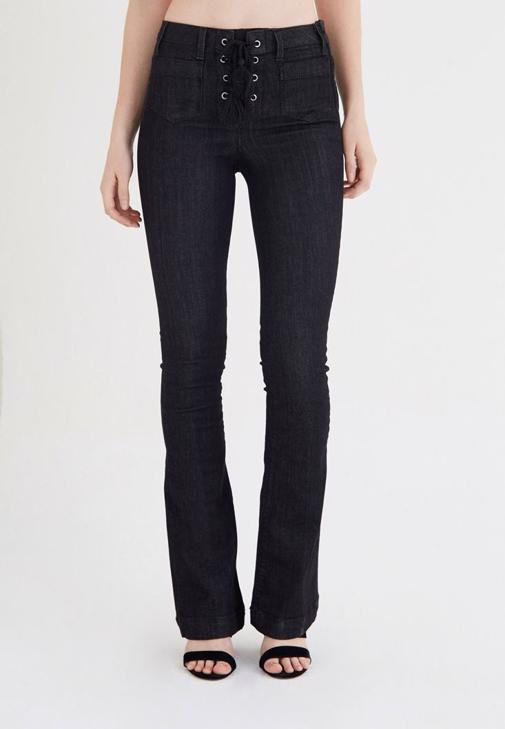 Siyah Bağcık Detaylı Yüksek Bel Kot Pantolon