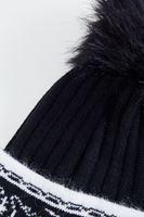 Bayan Siyah Desenli Ponponlu Bere