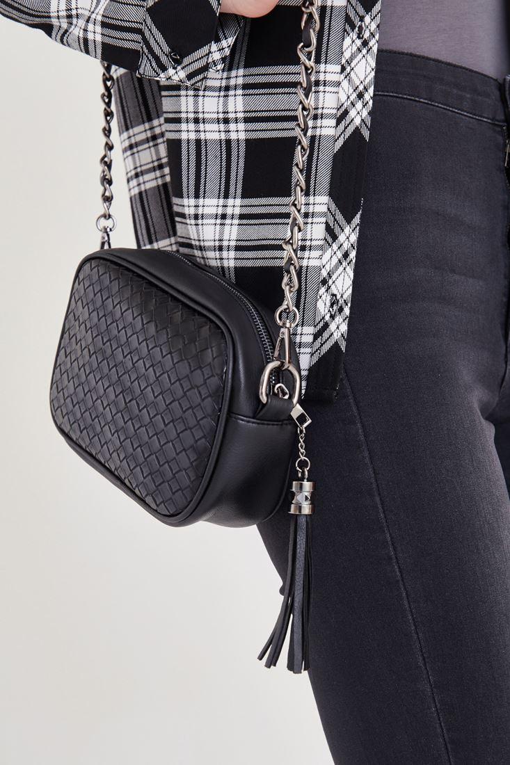 Bayan Siyah Püskül Detaylı Askılı Çanta