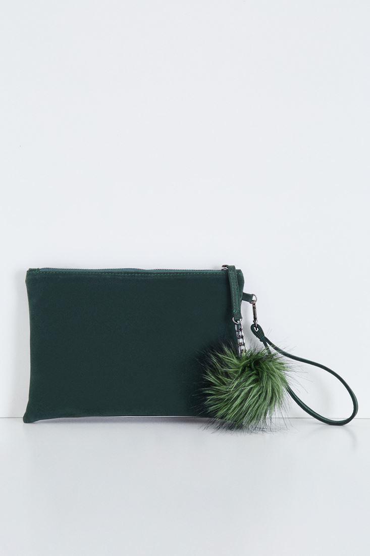 Bayan Yeşil Ponpon Detaylı El Çantası
