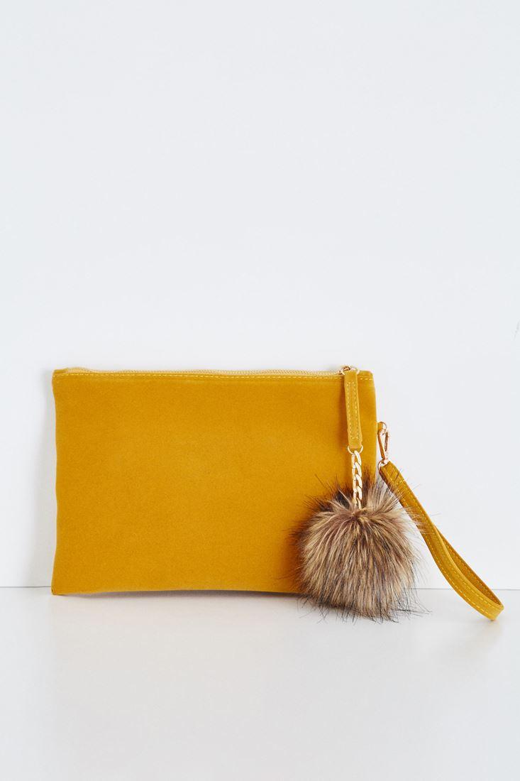 Sarı Ponpon Detaylı El Çantası