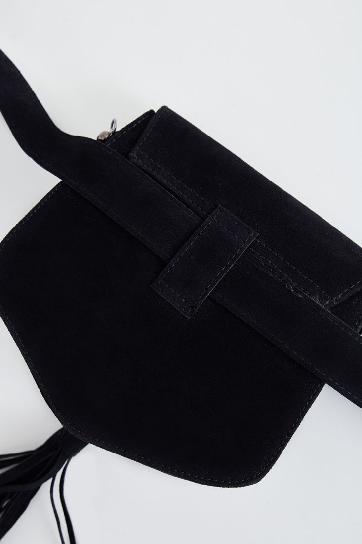 Bayan Siyah Püskül Detaylı Süet Çanta