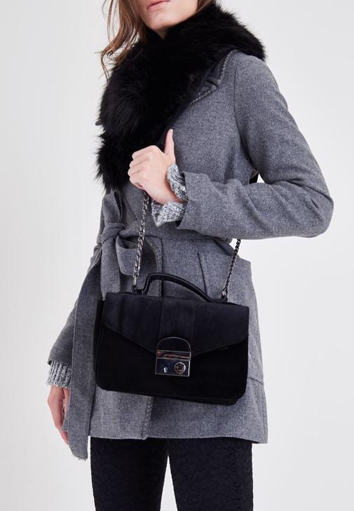 Siyah Kadife Askılı Çanta