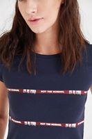 Bayan Lacivert Kısa Tişört
