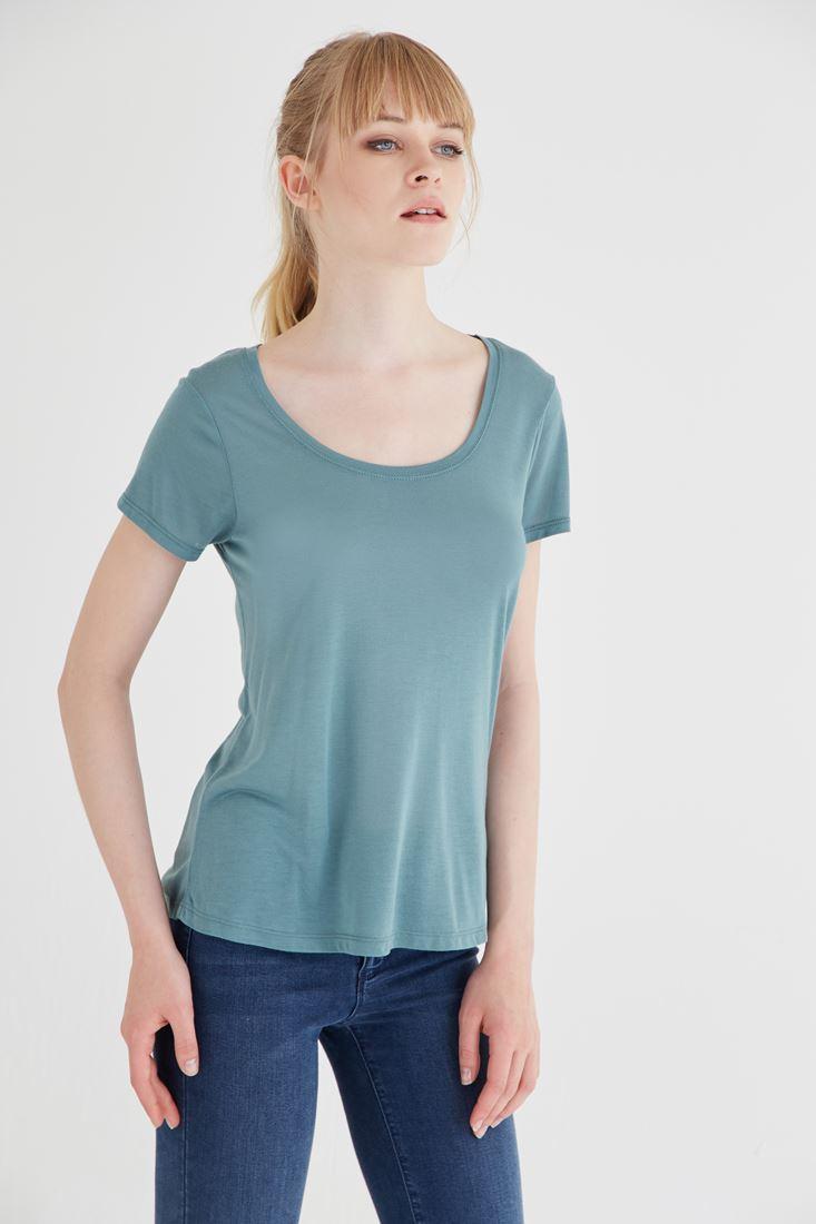 Bayan Yeşil U Yaka Tişört