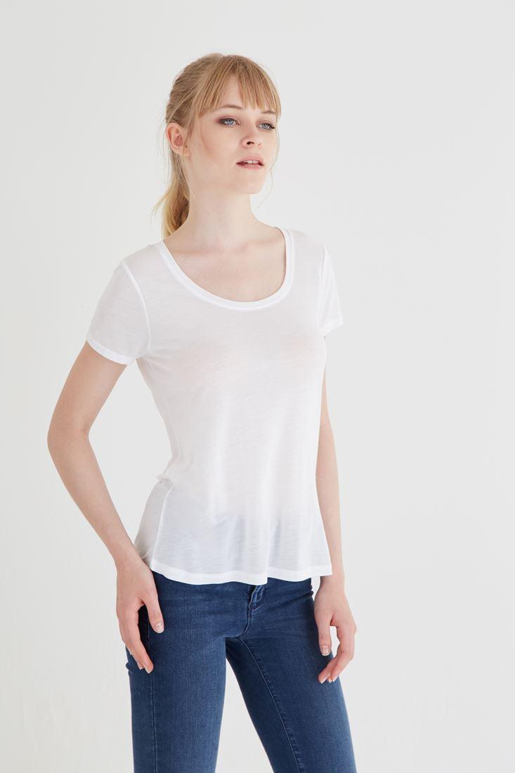 Beyaz U Yaka Tişört