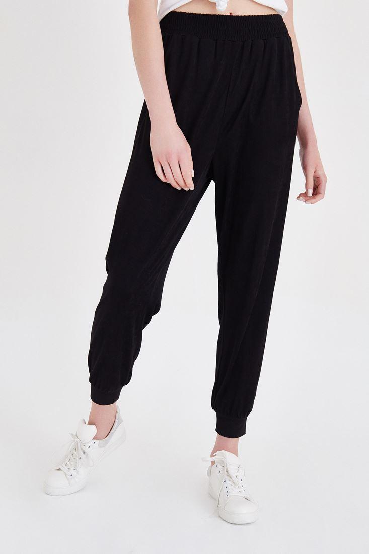 Siyah Yüksek Bel Bilekli Pantolon
