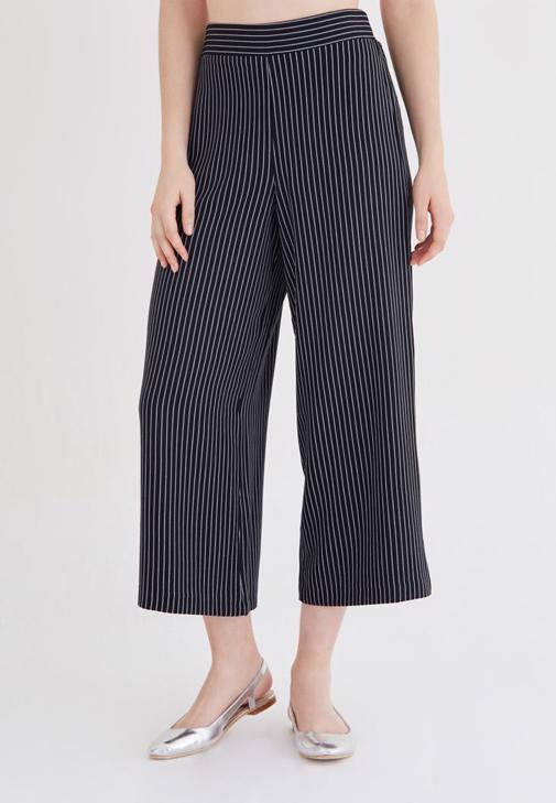 Çok Renkli Çizgili Bol Pantolon