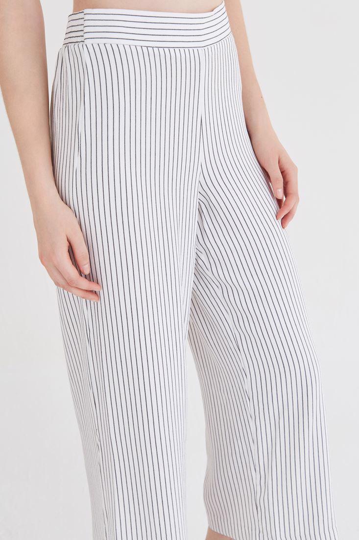 Bayan Çok Renkli Çizgili Bol Pantolon