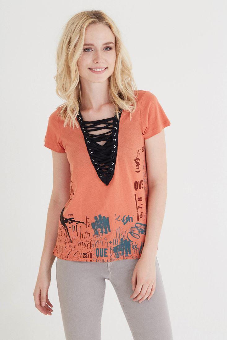 Bayan Turuncu Baskılı Bağcıklı Tişört