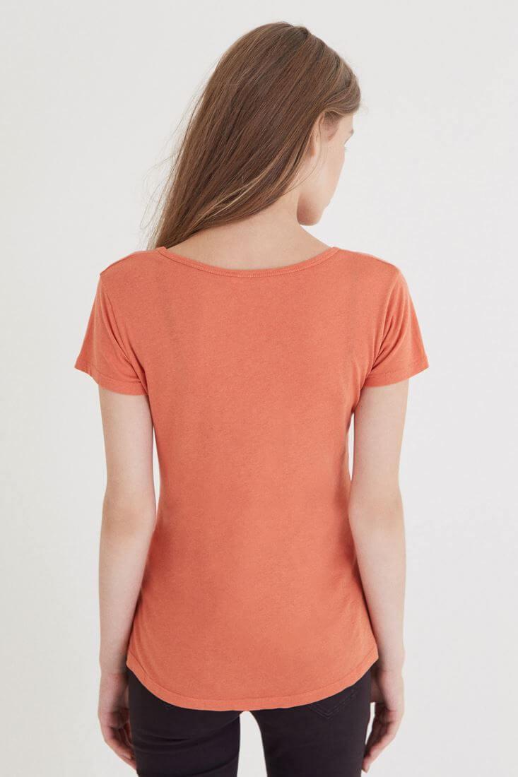 Bayan Turuncu Çapraz Bant Detaylı Tişört