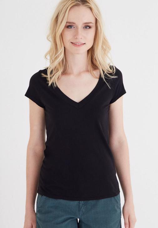 Siyah V Yaka Modal Kısa Kollu Tişört