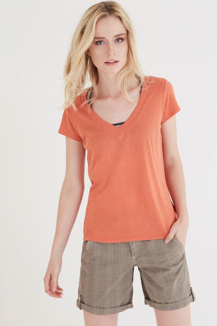 Turuncu V Yaka Modal Kısa Kollu Tişört