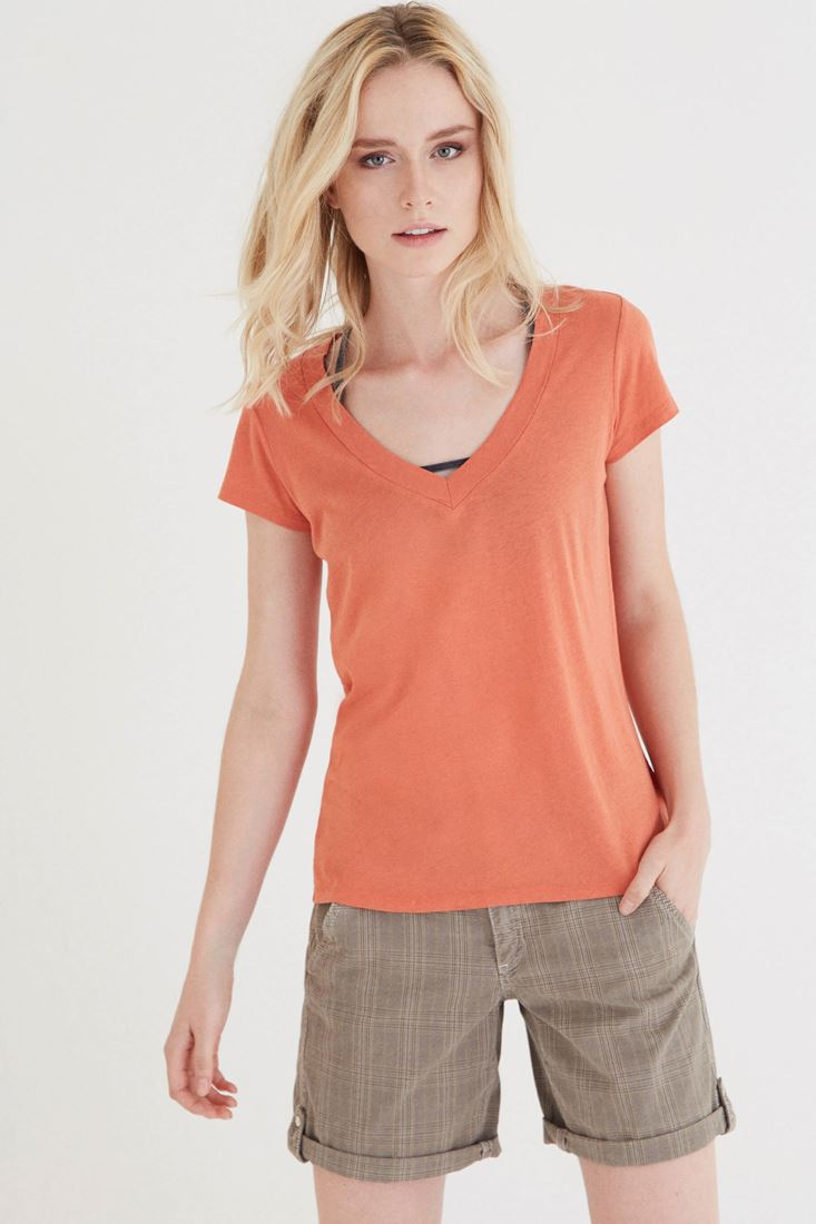 Bayan Turuncu V Yaka Modal Tişört