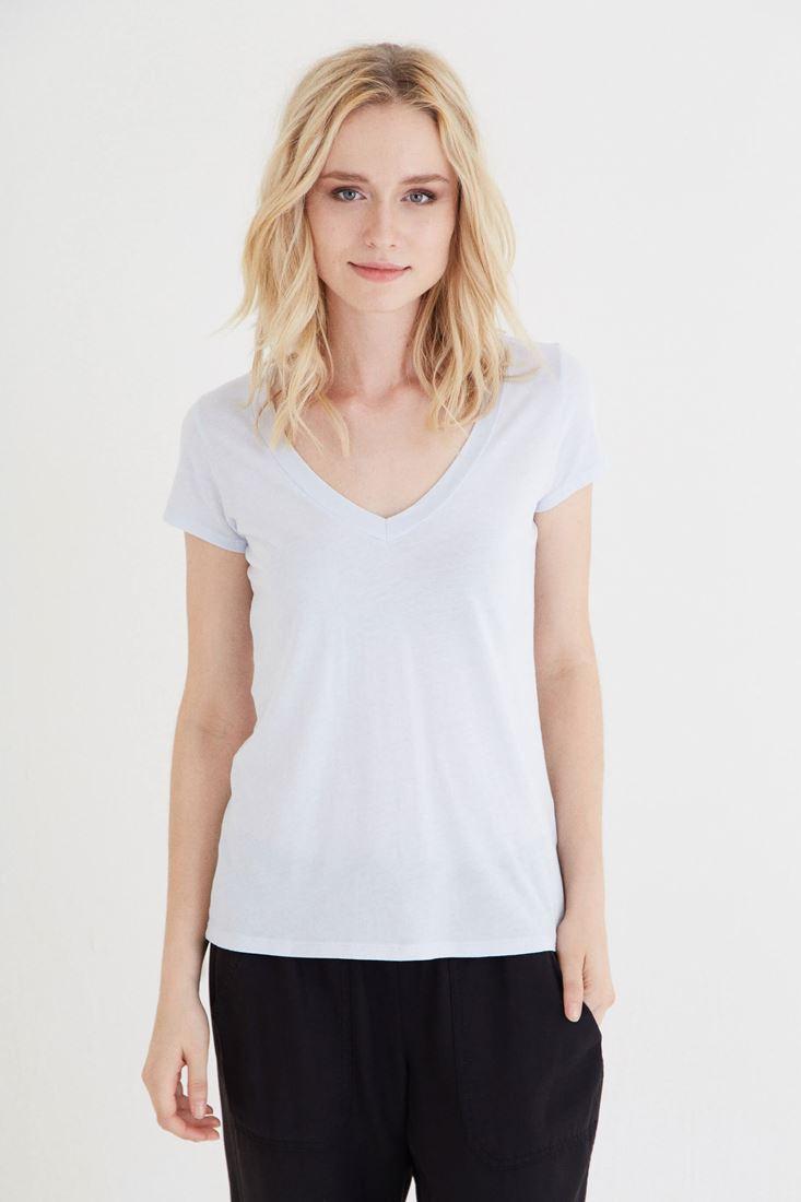 Gri V Yaka Modal Kısa Kollu Tişört