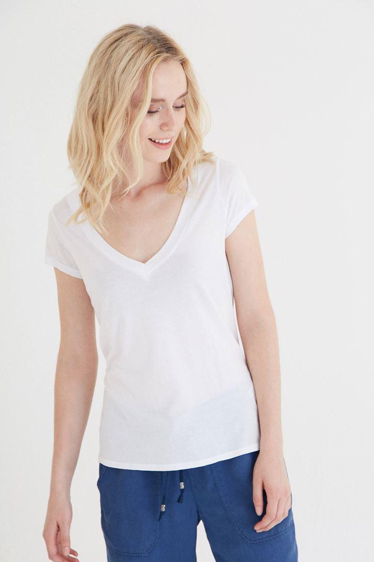 Beyaz V Yaka Modal Kısa Kollu Tişört
