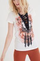 Bayan Krem Desenli Bağcık Detaylı Tişört