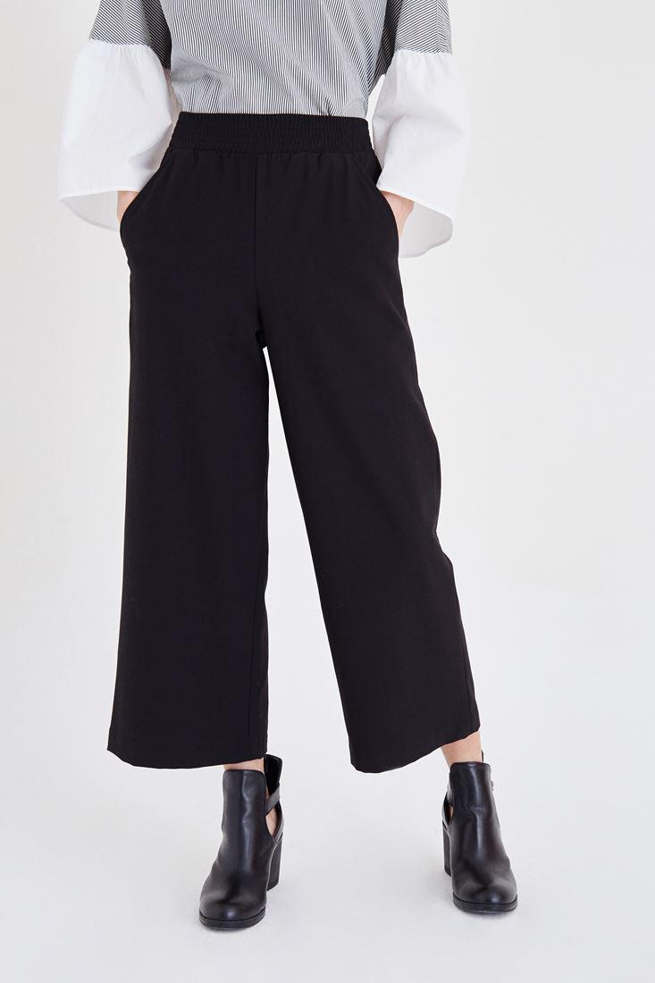 Bayan Siyah Beli Lastikli Culotte Pantolon