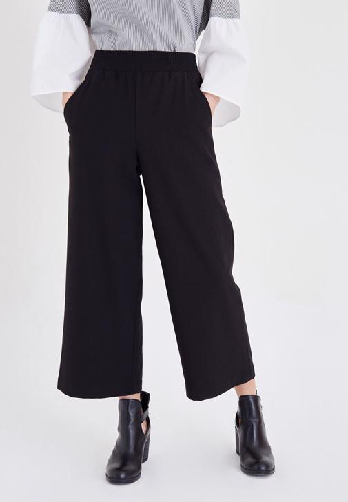 Siyah Beli Lastikli Culotte Pantolon