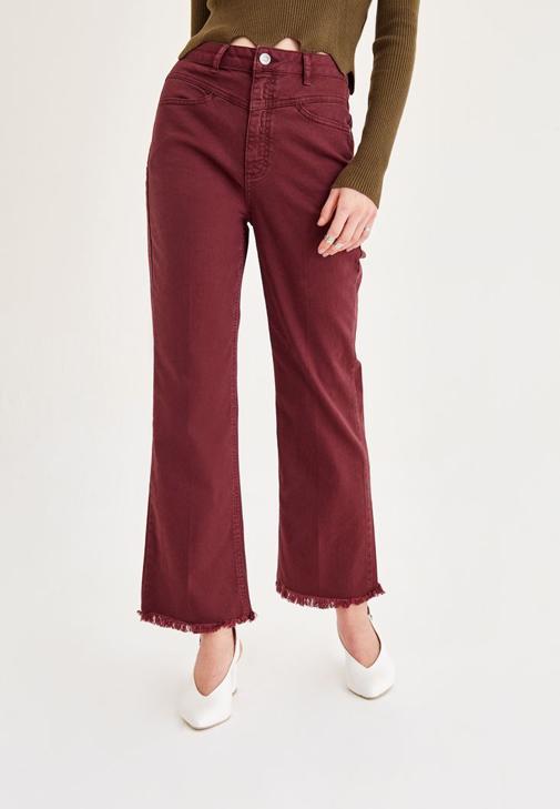 Bordo Kısa Paçalı Pantolon