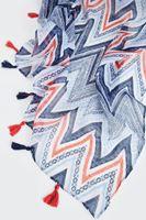 Bayan Lacivert Püsküllü Geometrik Desenli Şal