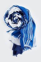 Bayan Mavi Çizgi Detaylı Şal